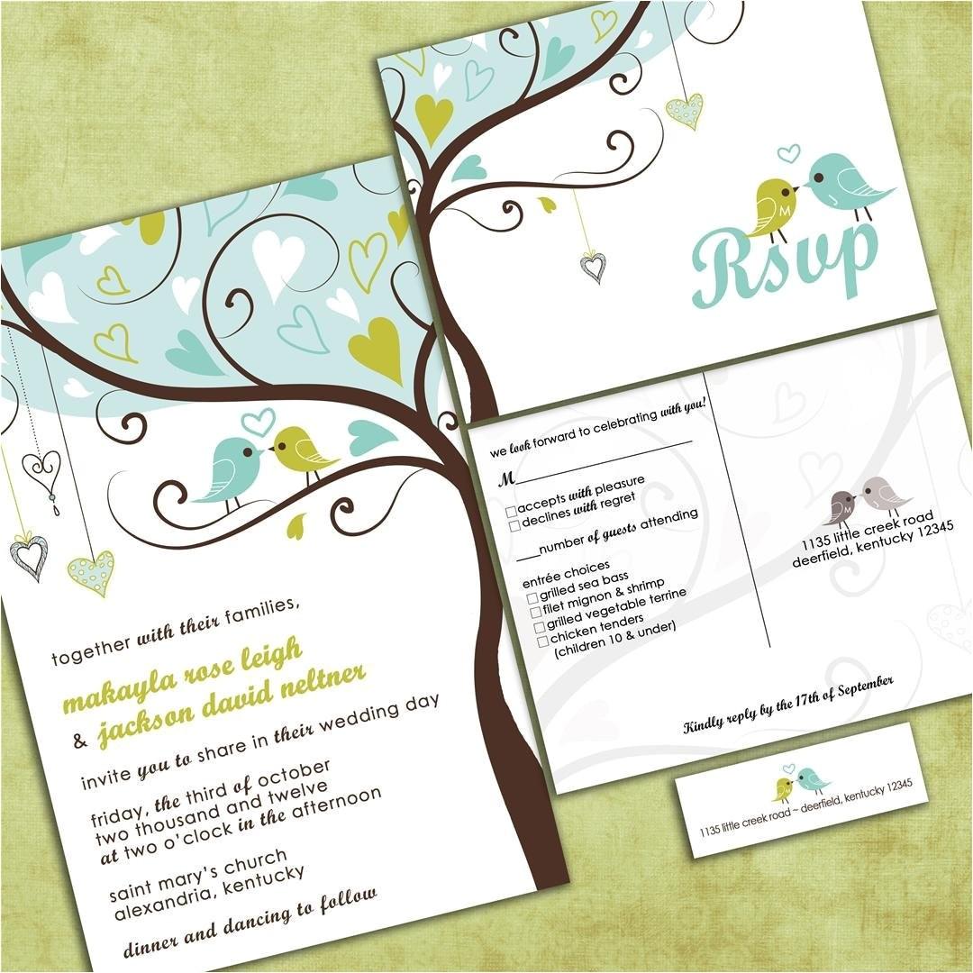 Cheap Love Bird Wedding Invitations Love Birds In A Tree Wedding Invitation Tweet Tweet