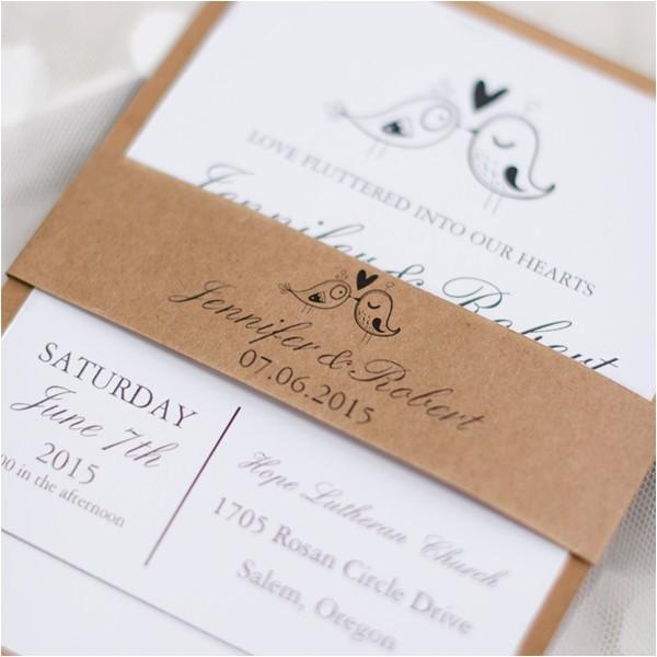 love birds rustic barn layered wedding invitations ewls047