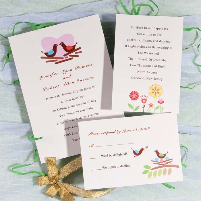 modern love birds with heart printable wedding invitations online ewi148