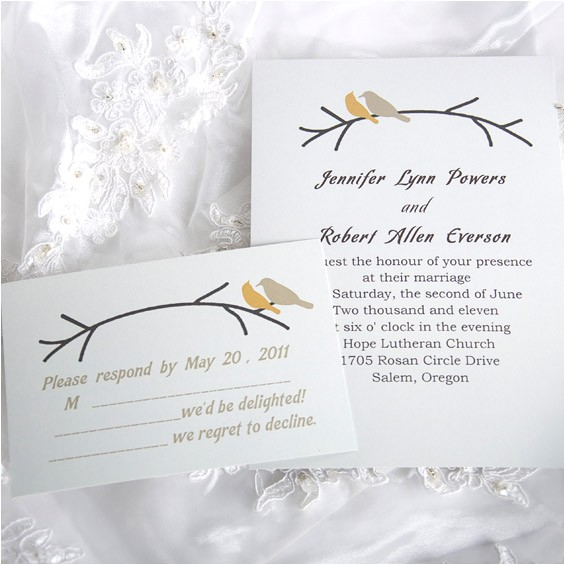 simple and elegant love birds wedding invitations ewi122