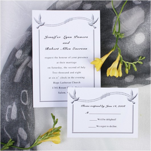 simple white love birds wedding invitations ewi197