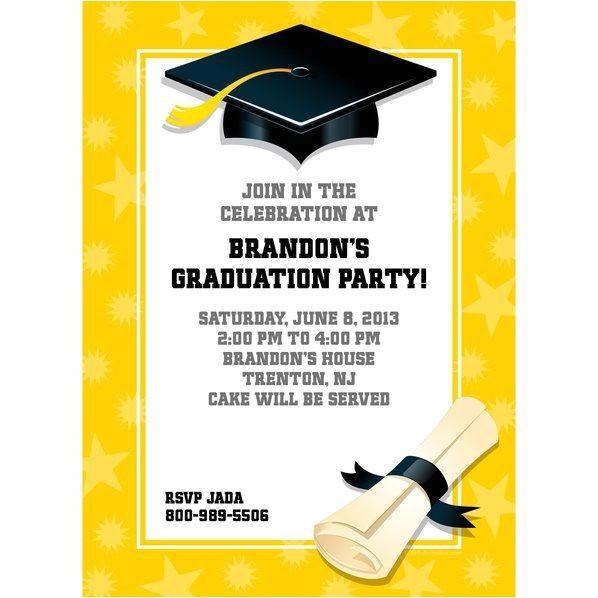 bright yellow graduation personalized invitation each