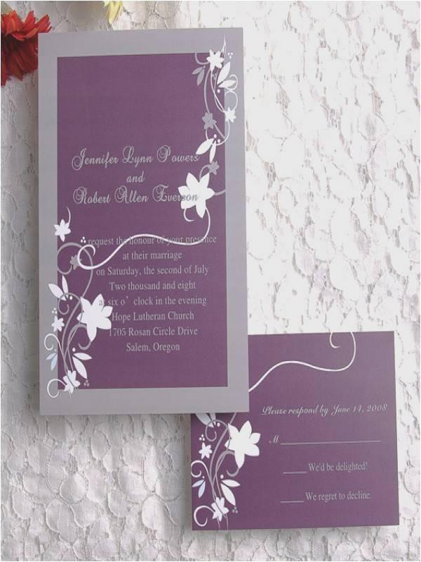 plum and grey wedding invitations