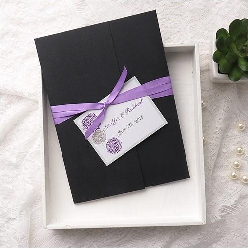 cheap purple dandelion black pocket wedding invitation kits ewpi155