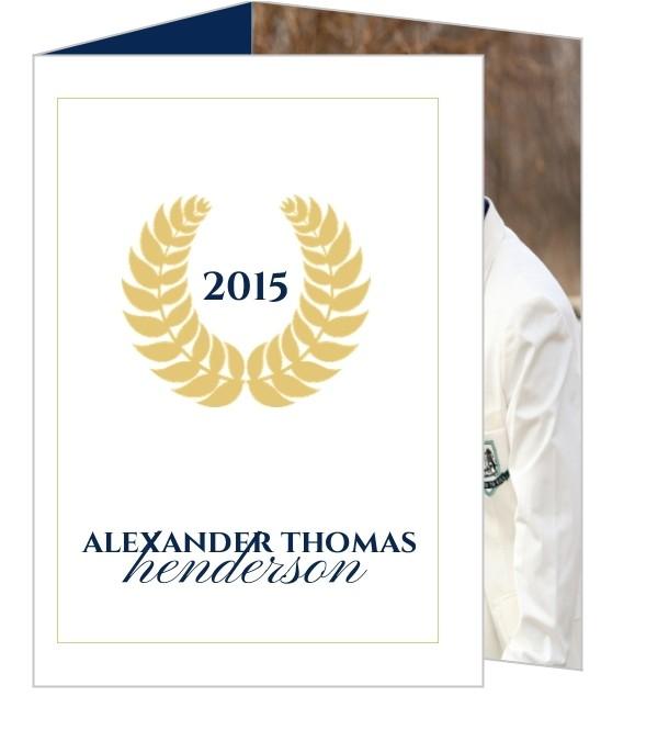 navy and gold seal graduation invitation 498428