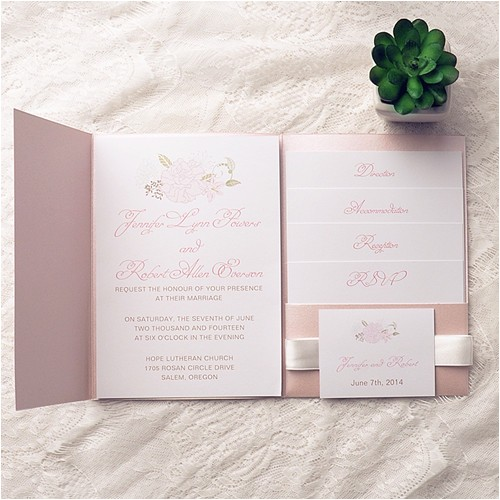 cheap spring pink flower pocket wedding invitation kits ewpi142