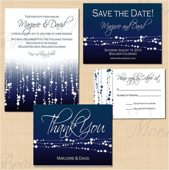 midnight blue star streamers save the date invitation rsvp