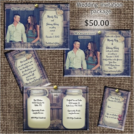 rustic wedding invitation package save