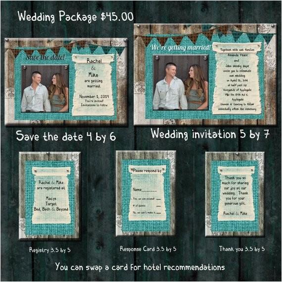 teal burlap wedding invitation package