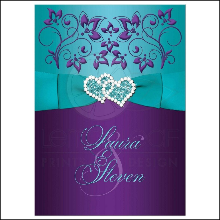 cheap purple and turquoise wedding invitations