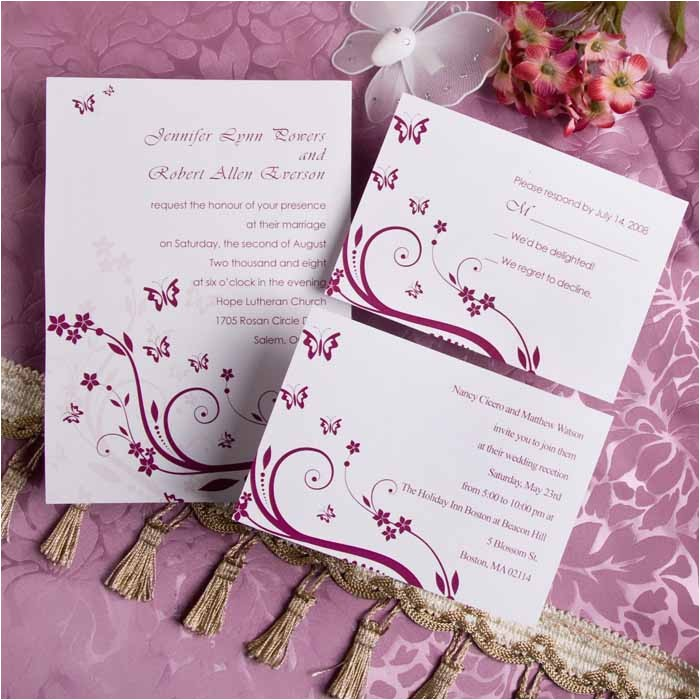 elegant red butterfly wedding invitations with free response cards ewi081