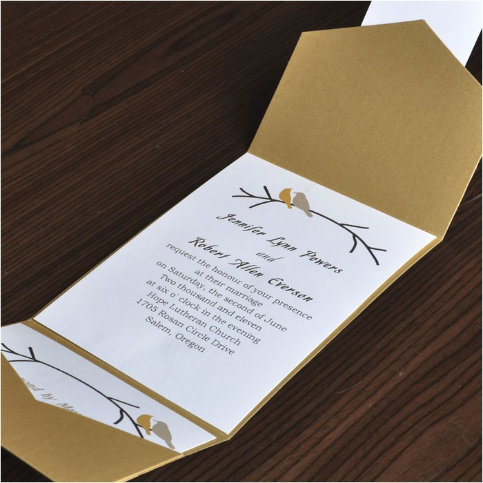 inexpensive ideas wedding invitations with free response cards love birds motive symbol married couple gold color background
