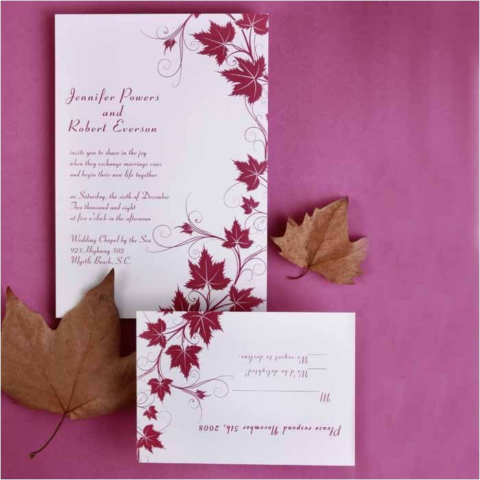 modern red maple leaves discount wedding invitation sets ewi057