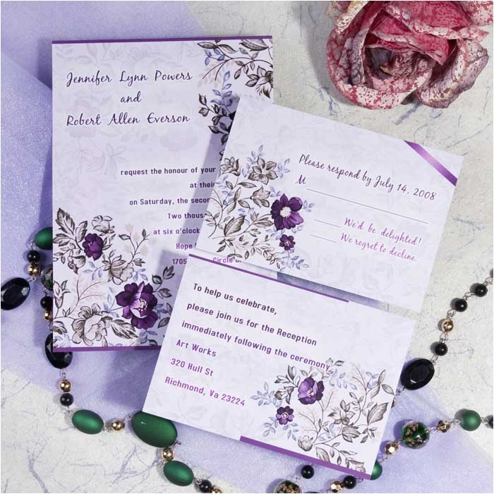 romantic purple floral printable wedding invitation cards cheap ewi063