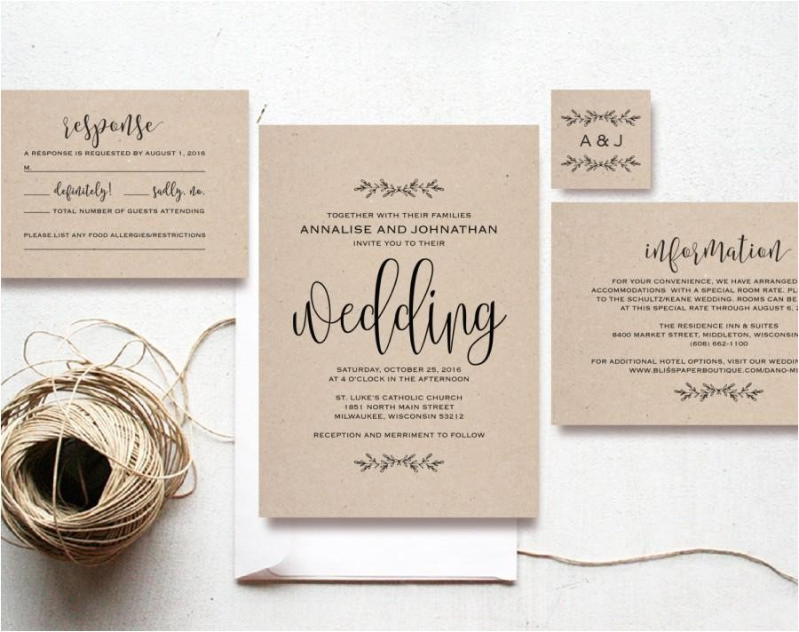 Cheap Wedding Invite Sets Kraft Wedding Invitation Printable Rustic Invitation Set