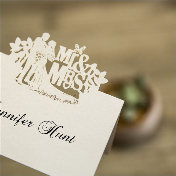 cheap mr and mrs laser cut place cards ewpc006
