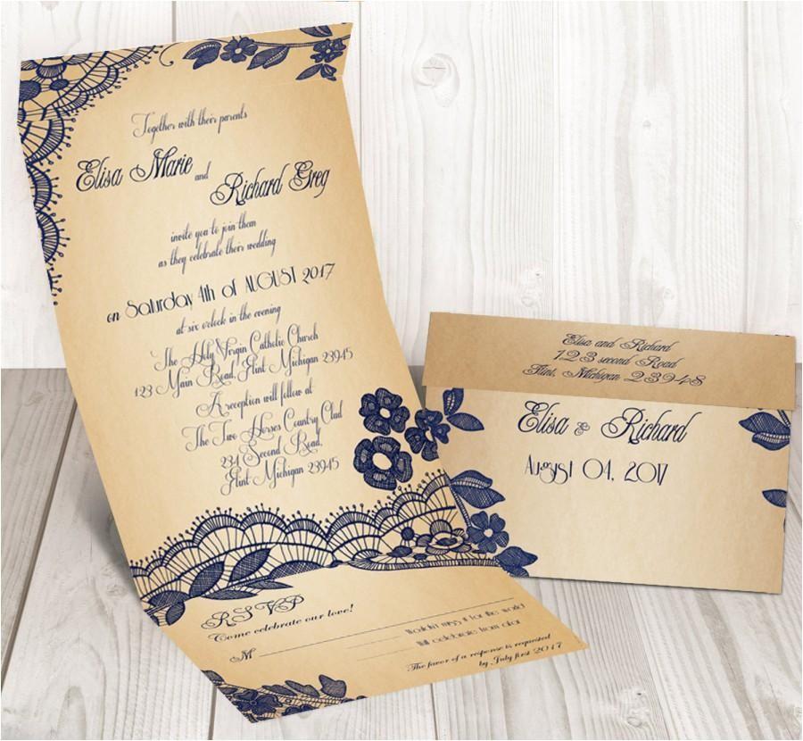 elegant lace seal and send wedding invitation card cheap wedding invitation bellevue design
