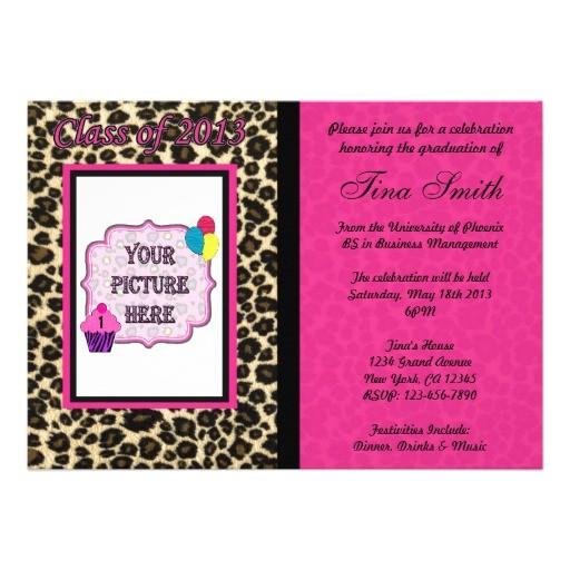 graduation invitation pink leopard cheetah 161328328437017170