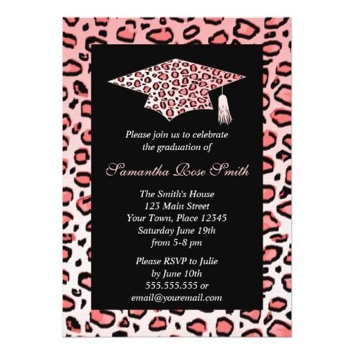 pink leopard print graduation party invitation 161255684672633229