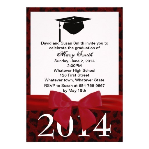 red ribbon and red leopard graduation invitation 161145684916033989
