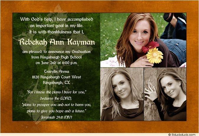 Christian Graduation Invitations Photo Christian Graduation Announcement Homeschool Cross