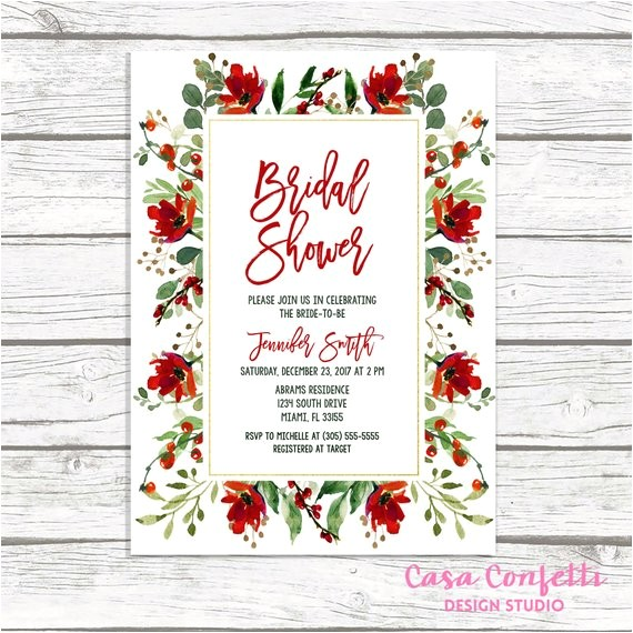christmas bridal shower invitation holly bridal