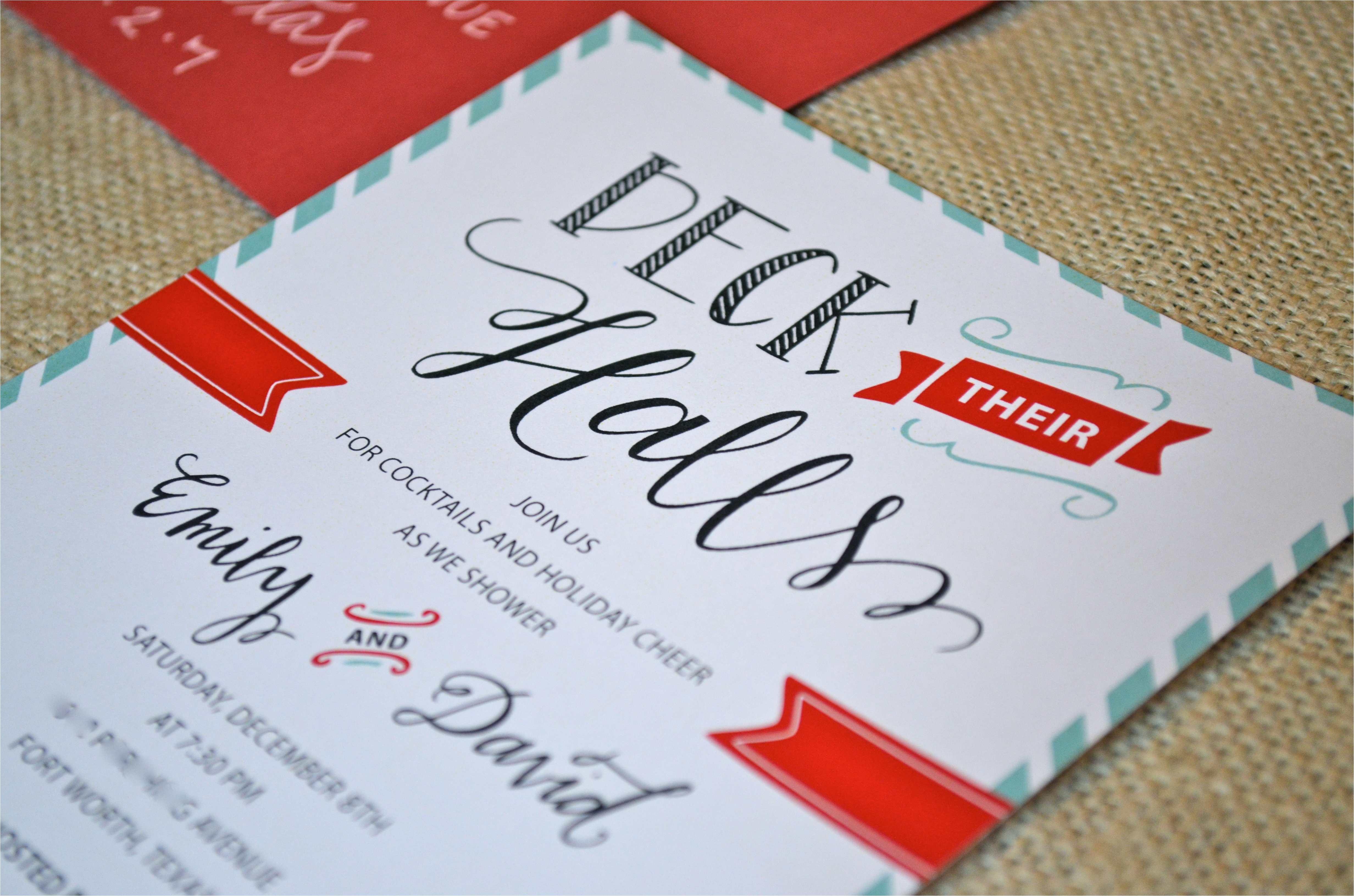 custom holiday couples wedding shower invitation