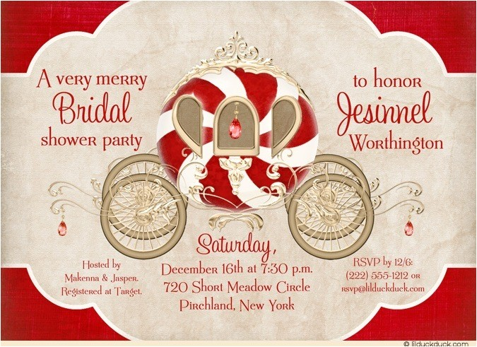 fairytale christmas bride shower invitation