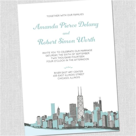 chicago cityscape wedding invitations