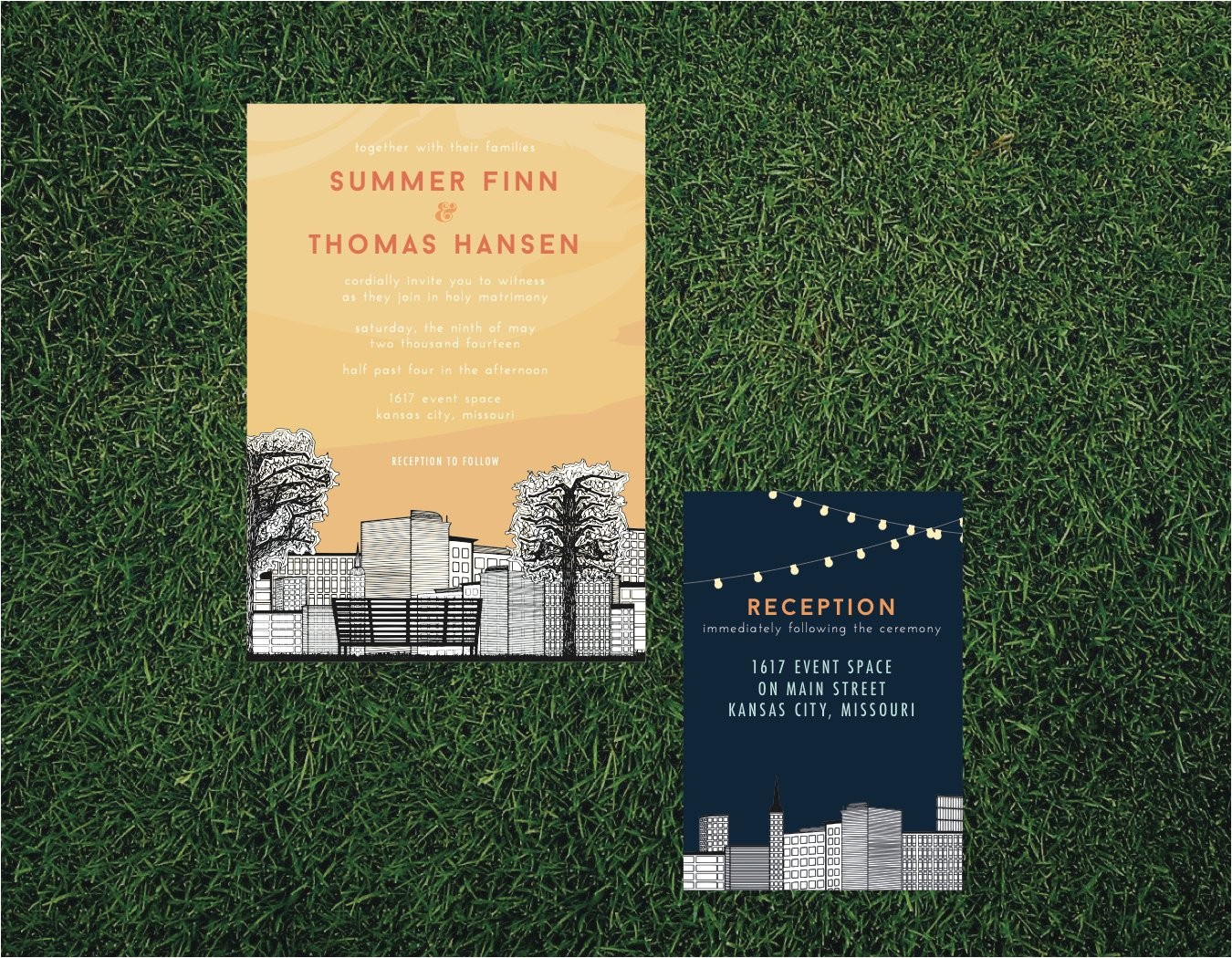 skyline cityscape wedding invitation