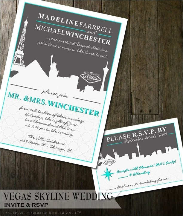 vegas wedding invitation modern cityscape destination vegas wedding invitations for that elopement or destination wedding digital file 2