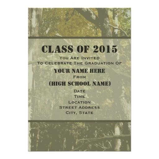 camo class of 2015 graduation invitation 256574567614952426