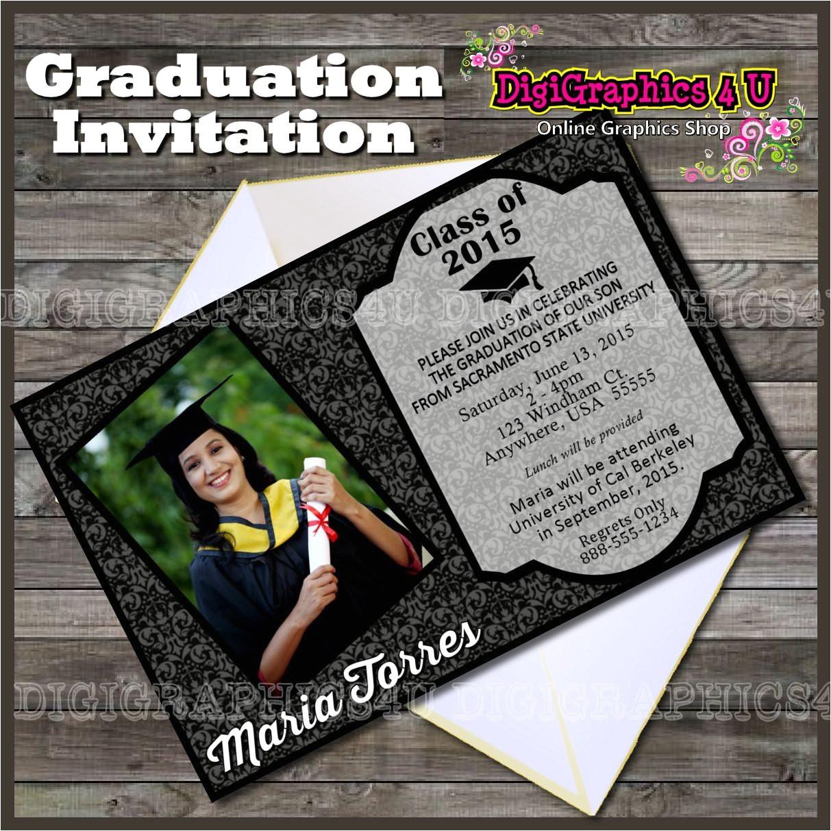 class of 2015 graduation party invitation printable digital file 6