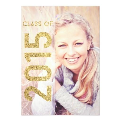 glitter class of 2015 graduation announcement 161386956745054202