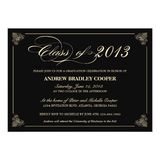 classy elegant black 2013 graduation invite 161336642770022349