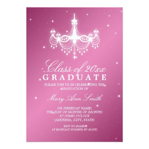 elegant graduation party classy chandelier pink invitation 161884319334794227