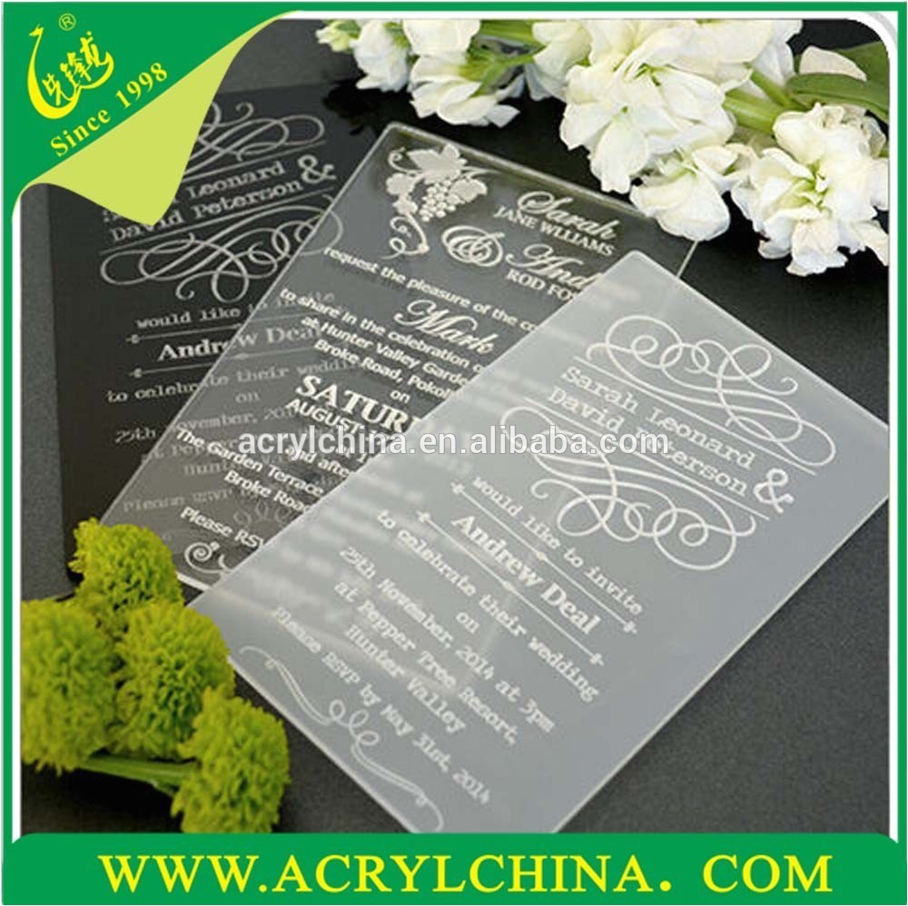 clear acrylic wedding invitations with engraving 60266787796