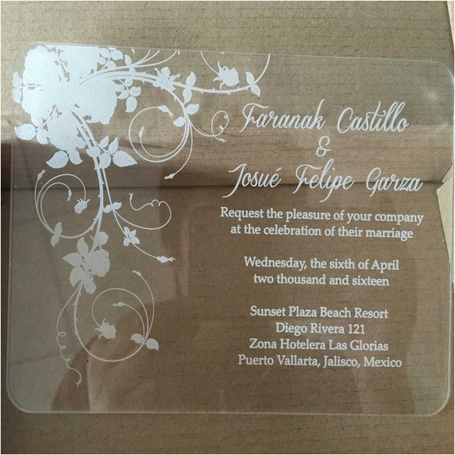 sample order for laser engraving clear acrylic wedding invi