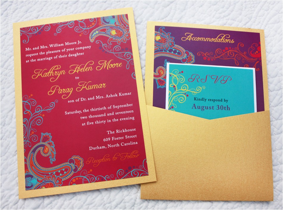 colorful paisley indian fusion clutch pocket wedding invitations