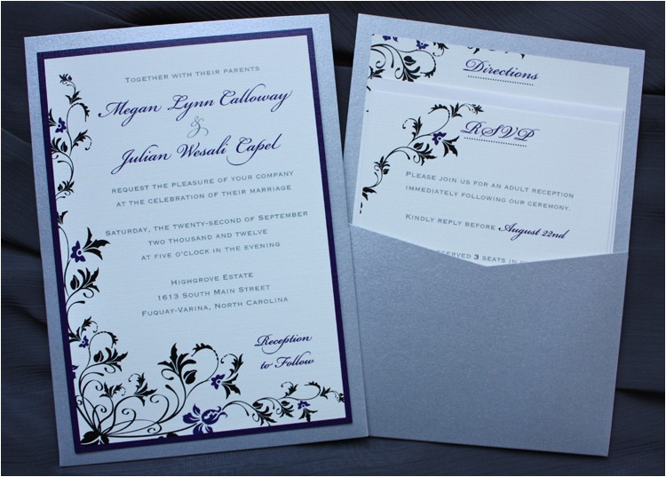 purple black silver floral vine clutch pocket wedding invitations
