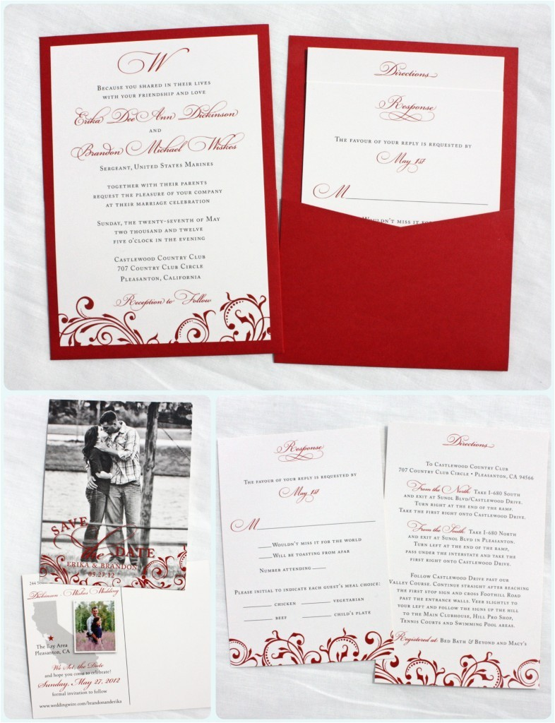 red vintage scroll clutch pocket wedding invitations photo save the date postcards