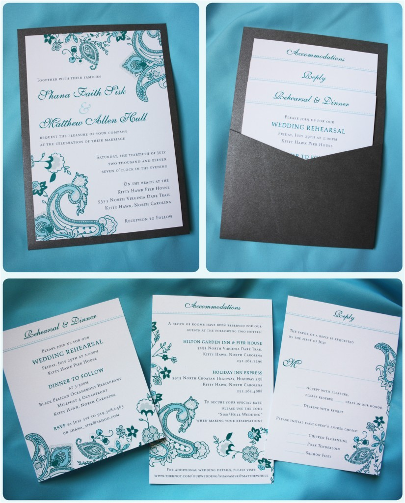 turquoise paisley floral clutch pocket wedding invitation