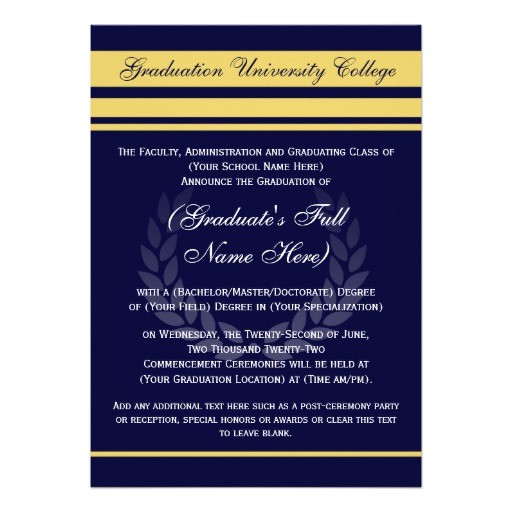 College Graduation Invitations and Announcements formal College Graduation Announcements Blue 5 Quot X 7