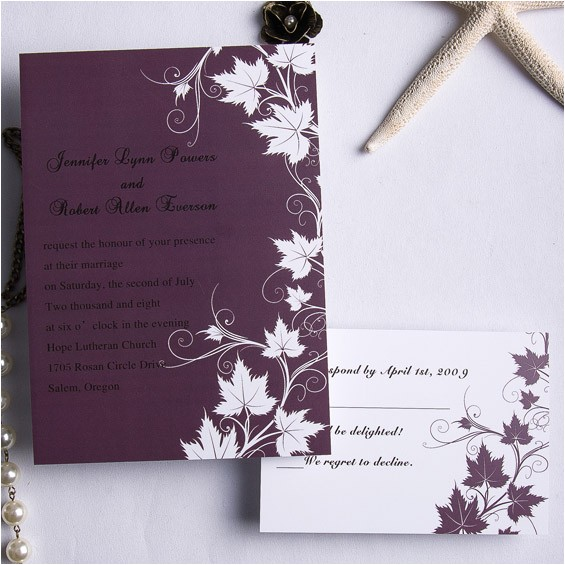 cheap retro plum maple flowers fall wedding cards ewi169
