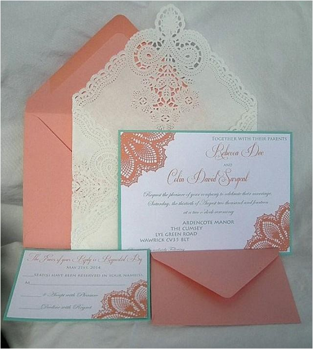 coral peach n turquoise blue aqua teal blue lace wedding invitation doily lace envelope lace wedding invitation invitation custom any color