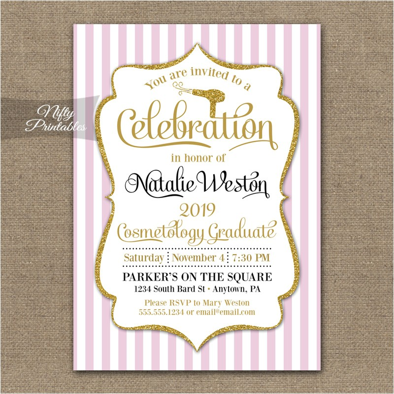 cosmetology school graduation invitation