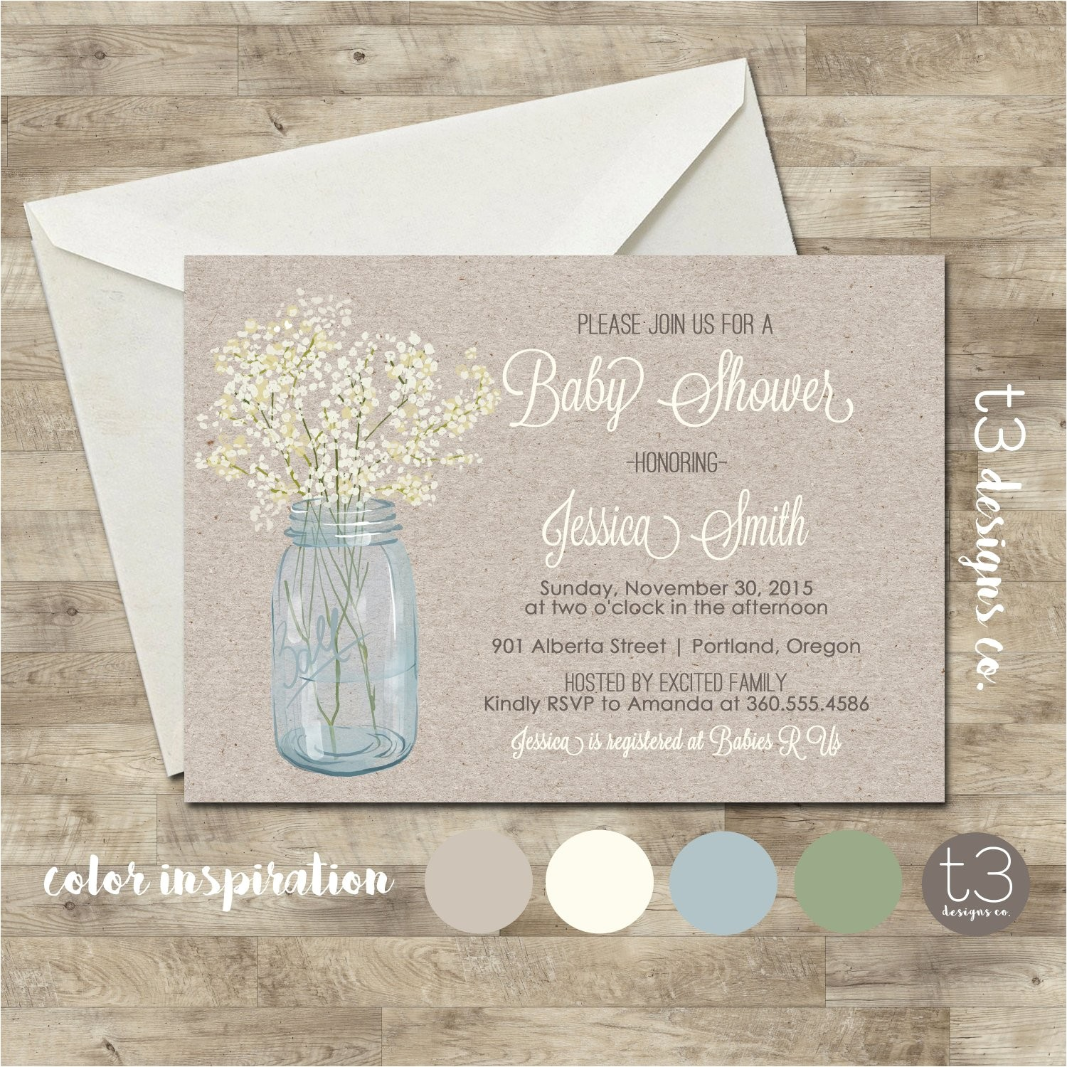 country baby shower invitation rustic