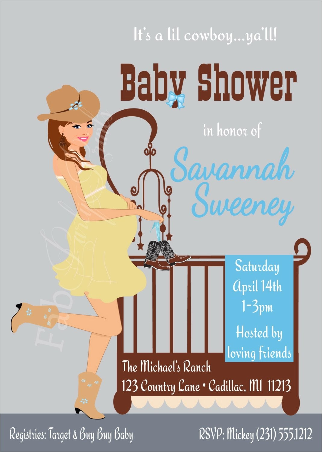 cowboy baby shower invitation country