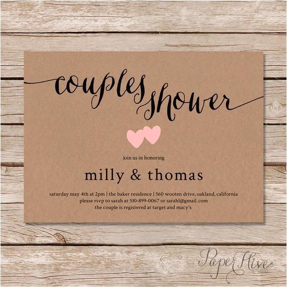 rustic couples shower invitation kraft