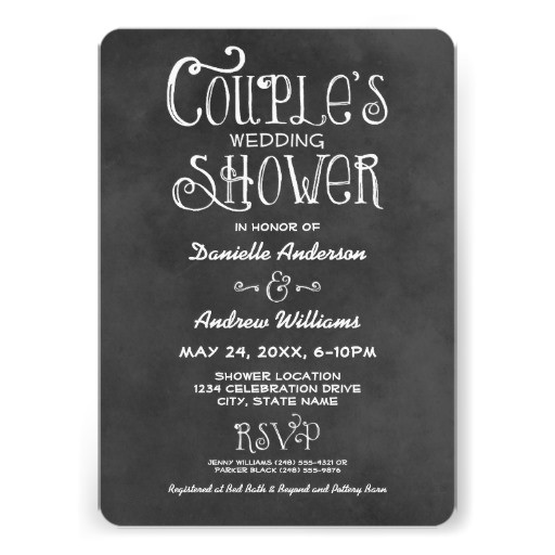 couple 39 s wedding shower black chalkboard personalized announcement 161465370150867470